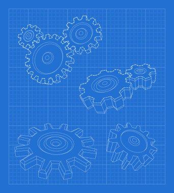 Gears blueprint. Business concept