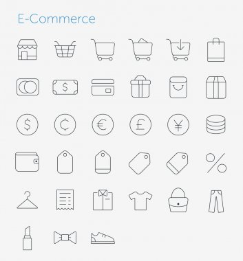 33 Thin Icons Set of E-Commerce.