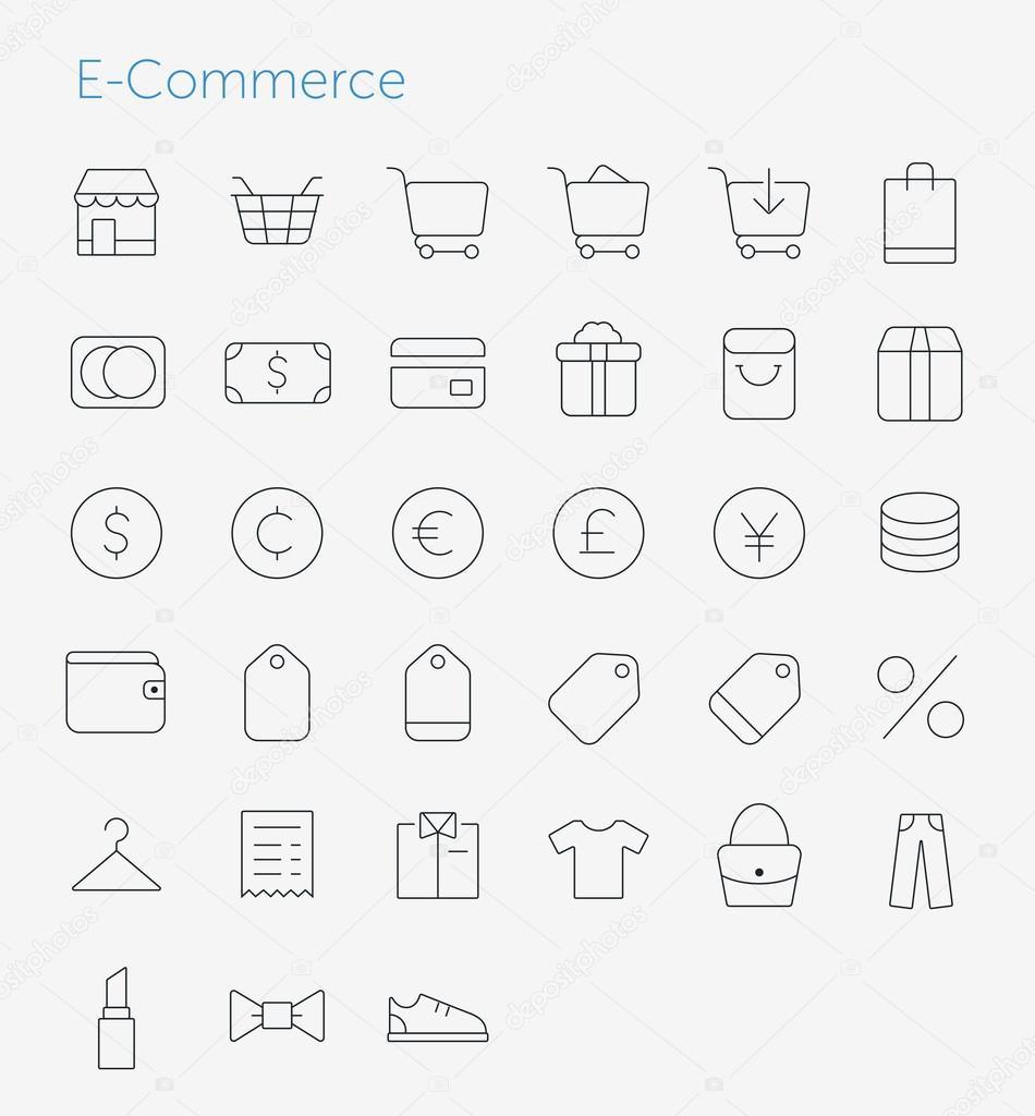 33 Thin Icons Set of E-Commerce.