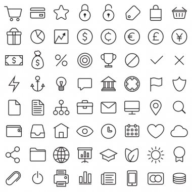 64 Thin Icons Set.