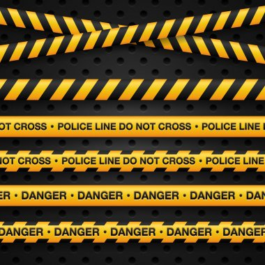 Police line and danger tapes
