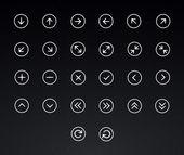 Sada ikon tenká čára šipky
