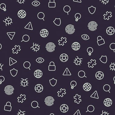 Security icons seamless pattern. Vector background