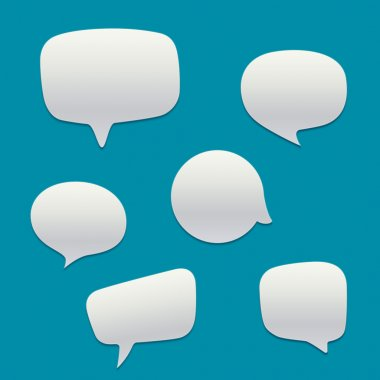 Blank  white speech bubbles. Vector template