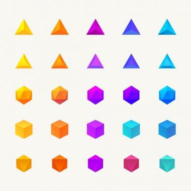 Polygon 3d objects set