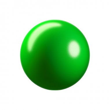 3D glossy green plastic sphere. Isolated on white