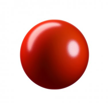 3D glossy red plastic sphere. Isolated on white