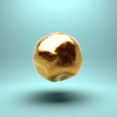Gold sphere with detailed damages. Isolated