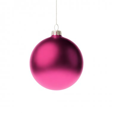 Pink 3d christmas Bauble. Vector illustration