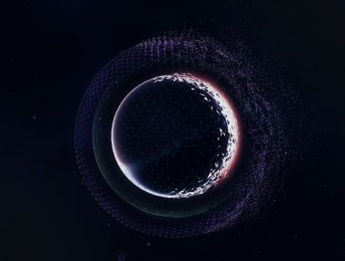 3D abstract space planets illustration. Futuristic ui and film design