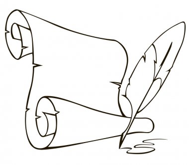 Old paper scroll and feather