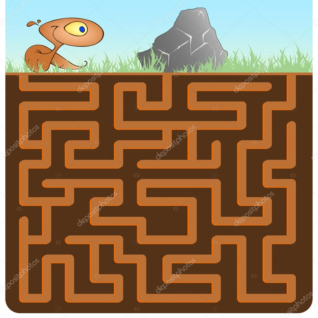 Game for Children with Earthworm and Stone