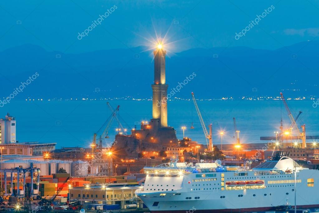Genoa. Seaport night.