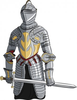Vector medieval knight in armor with a sword stock vector