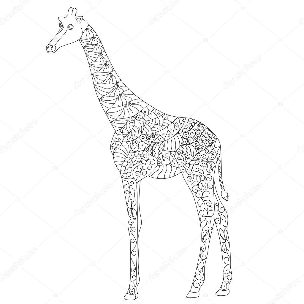 Beyaz Arka Plan üzerinde Stres Sayfa Zentangle Zürafa Boyama Doodle