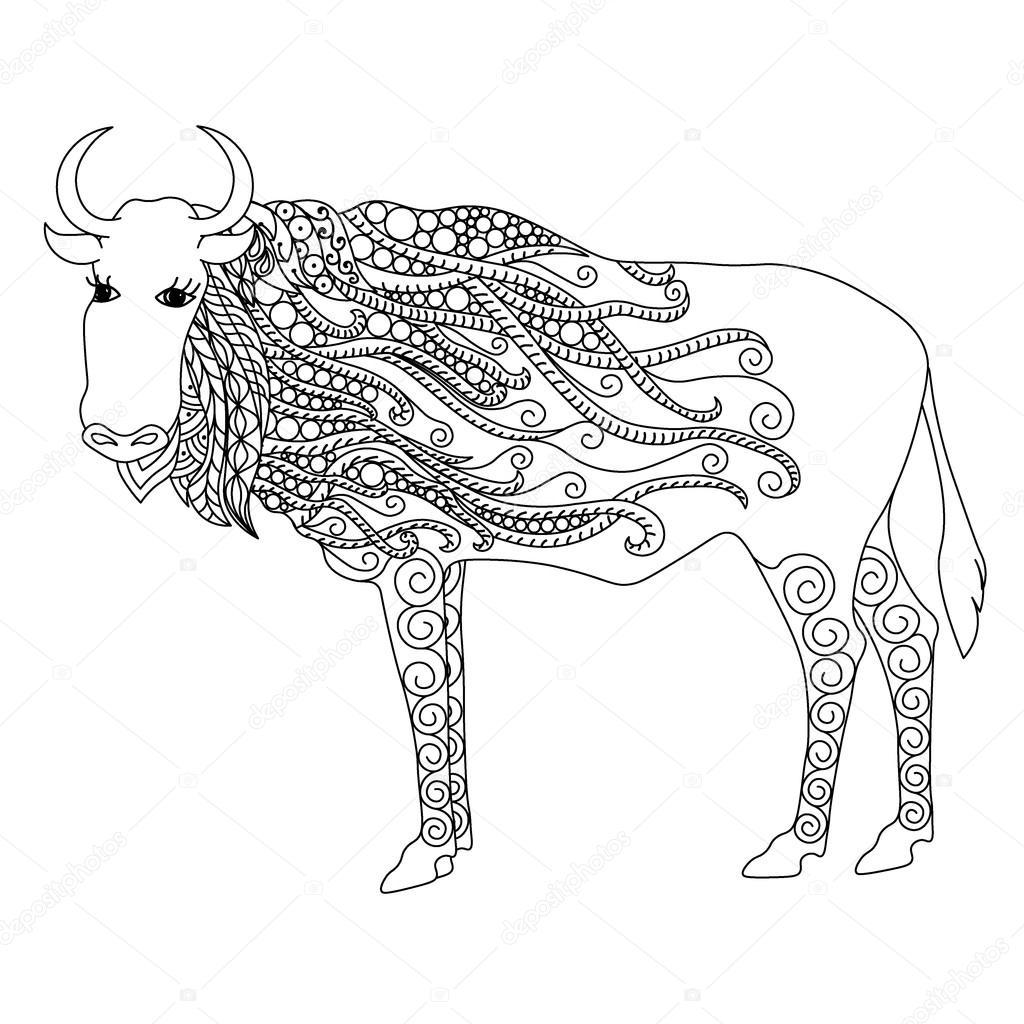 Beyaz Arka Plan üzerinde Stres Sayfa Zentangle Boğa Boyama Doodle