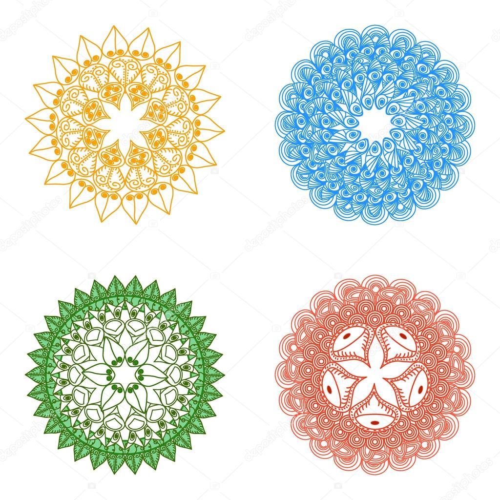 Mandalas color s vecteur de mandala art mandala dessin - Modele de mandala ...