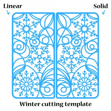 Winter Christmas invitation or greeting card with abstract snowflakes ornament. Vector envelope template for laser cutting. Paper cut card with silhouette. Cutout silhouette panel. Cutting file