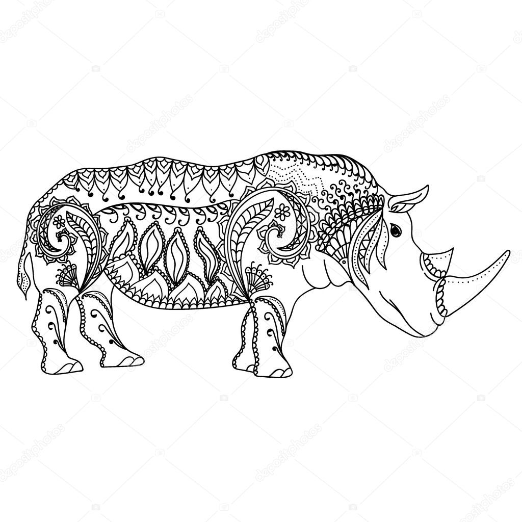 Drawing Zentangle Inspired Rhino For Coloring Page Shirt Design