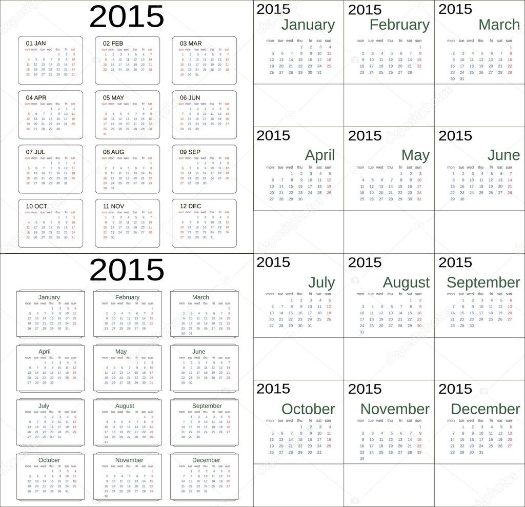 simple 2015 calendar universal pattern week starts with sunday with monday short and full