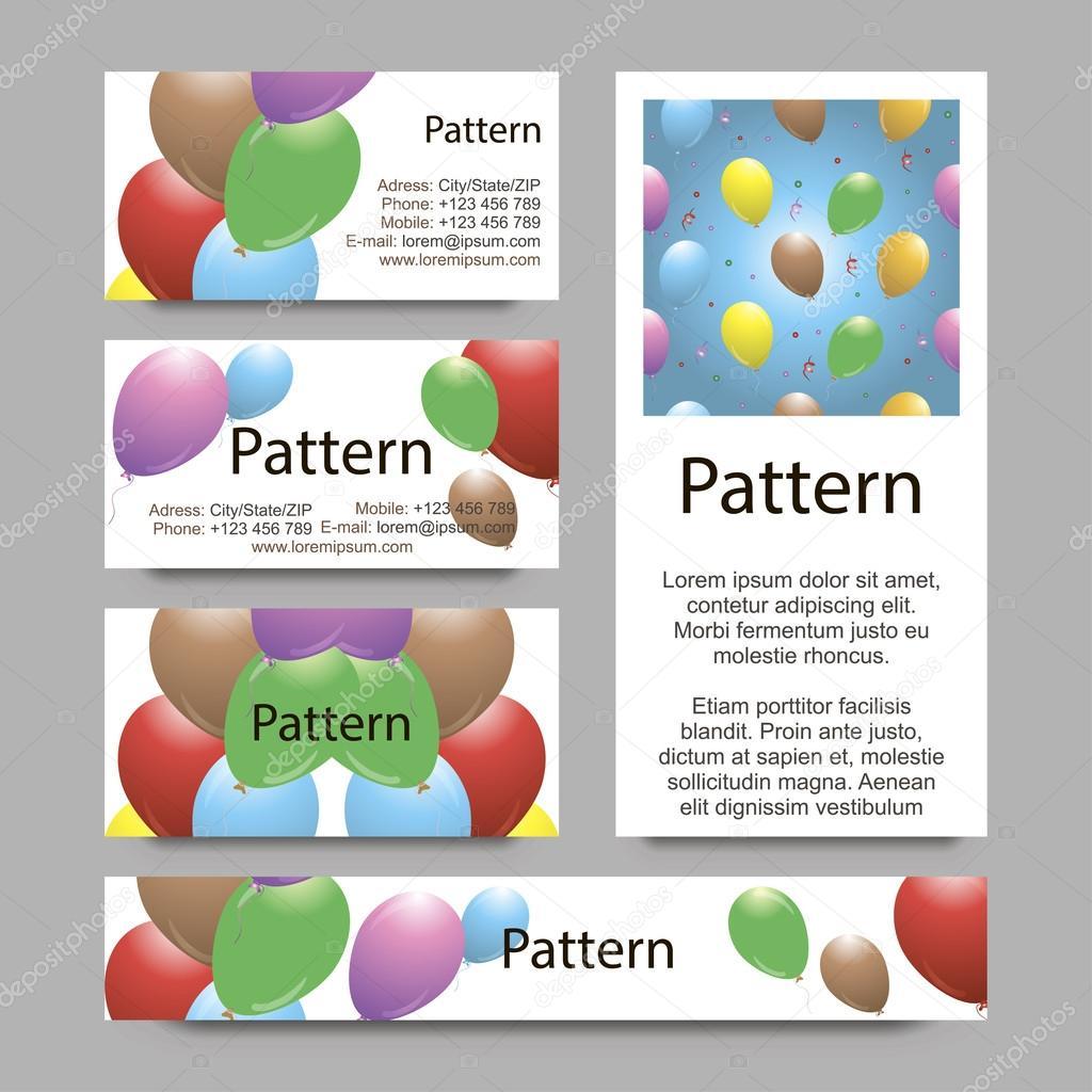 3D Modle De Cartes Visite Avec Des Ballons Vibrantes RVB Inclut Sans Couture Vecteur Par LiluArt