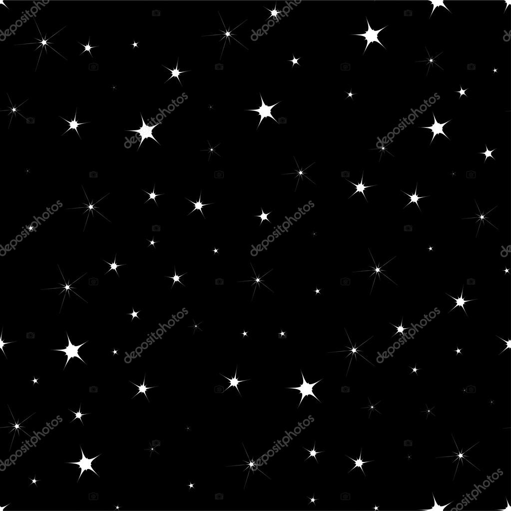 FLAT Seamless background with sparkling stars on a dark blue sky in the night