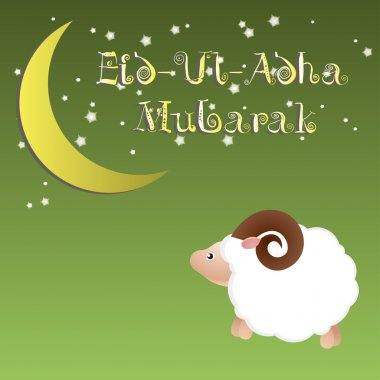 Muslim community festival of sacrifice Eid Ul Adha greeting card, background with sheep moon and stars. Free font used.