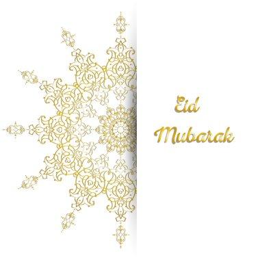 Illustration of Eid Mubarak greeting card with round ornate moroccam ornament.