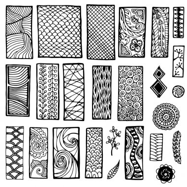 Collection of  geometric floral doodle pattern. Geometric tribal zentangle backgrounds. Template frame design for card with set of doodle rectangles.
