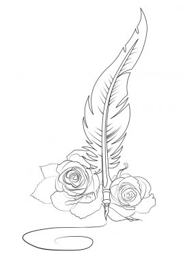 Feather and roses signature tattoo template