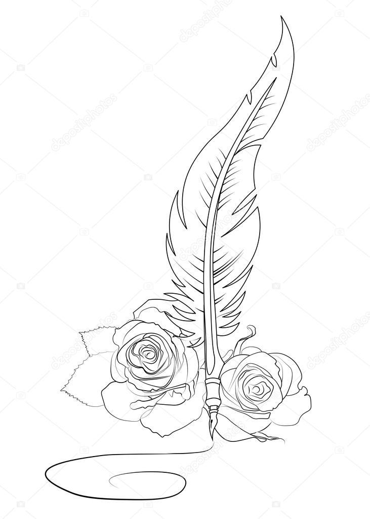 Modele De Tatouage De Signature Plumes Et Roses Image Vectorielle
