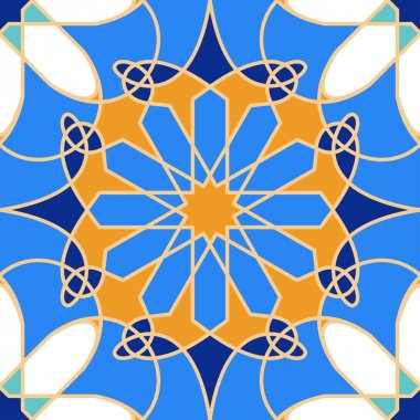 Gorgeous seamless pattern from blue Moroccan tiles, ornaments. Can be used for wallpaper, pattern fills, web page background, surface textures.