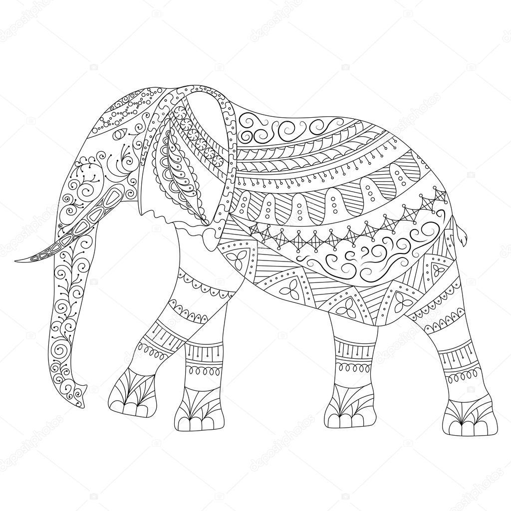 Elefante De Zentangle Doodle Sobre Fondo Blanco Ilustración Gráfica
