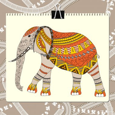 Zentangle stylized elephant. Animal collection. Hand drawn doodle. Ethnic patterned vector illustration. African, indian, totem, tribal design.