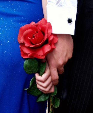 Couple Holding Hands and a Rose