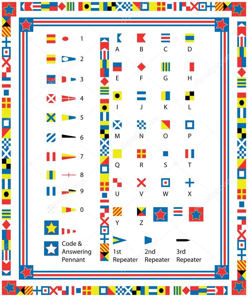 EPS8 Vector Complete Set of nautical flags and borders including drag and drop items for fills and brushes.