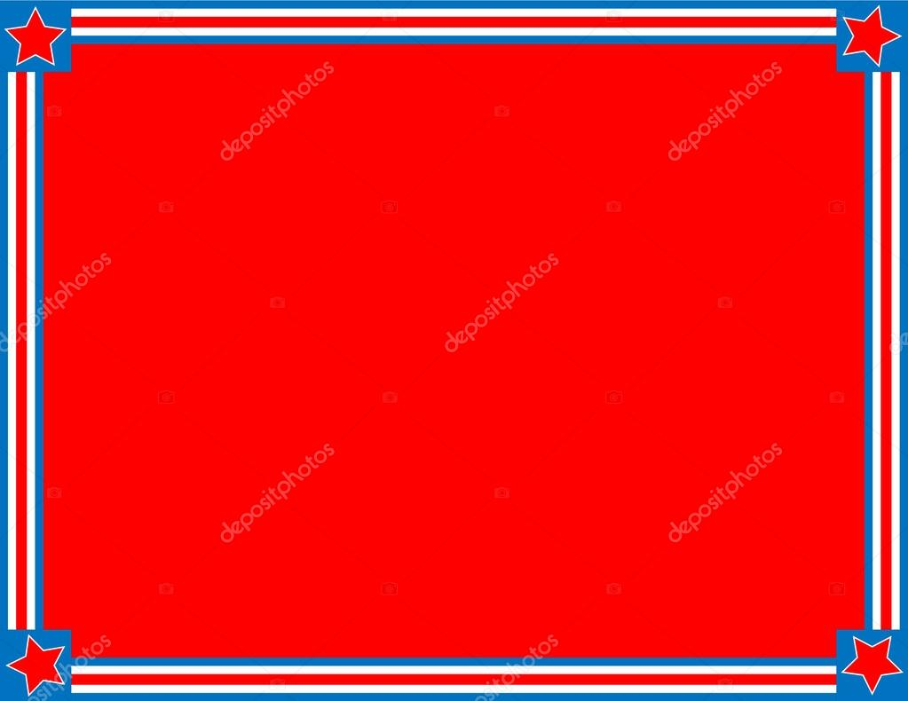 EPS8 Vector Red, White and blue patriotic frame or border with a striped and star background with copy space.