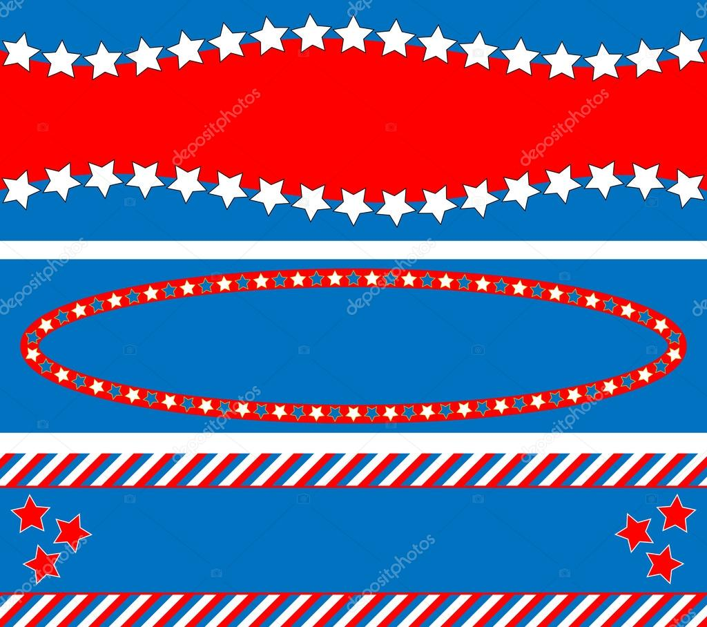 EPS8 Vector 3 Red, White and blue patriotic frames or border backgrounds with stars, stripes and copy space.
