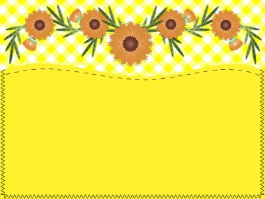Eps10.  Orange zinnia on yellow gingham with copy space and quilting stitches.