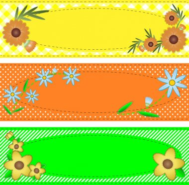 Three vector eps10 oval copy space designs in yellow, orange and green trimmed with flowers, stripes, polka dots, gingham, containing quilting stitch accents.