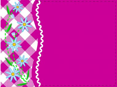 Vector eps8.  Pink copy space with gingham and ric rac trim topped with blue cornflowers and quilting stitches.