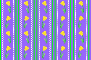 Vector eps8.  Purple wallpaper background with yellow tulips accented by green stripes, white rick rac and quilting stitches.