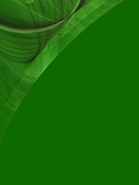 Green background copy space with a corner design of transparent rolling layers.