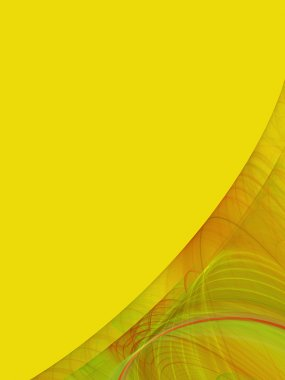 Yellow background copy space with a corner design of transparent rolling layers.