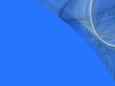 Light blue background copy space with a corner design of transparent rolling layers.