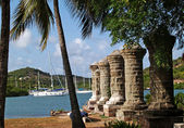 Fotografie Old sail loft pillars in English Harbour inside Nelsons Dockyard National Park, on Antigua Barbuda in the Caribbean Lesser Antilles West Indies.