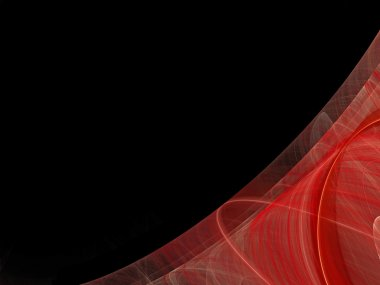 Black background copy space with a red corner design of transparent rolling layers.