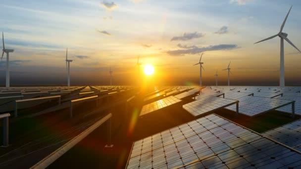 Alternativní zdroje energie s větrným mlýnem a solárním panelem pro výrobu zelené energie