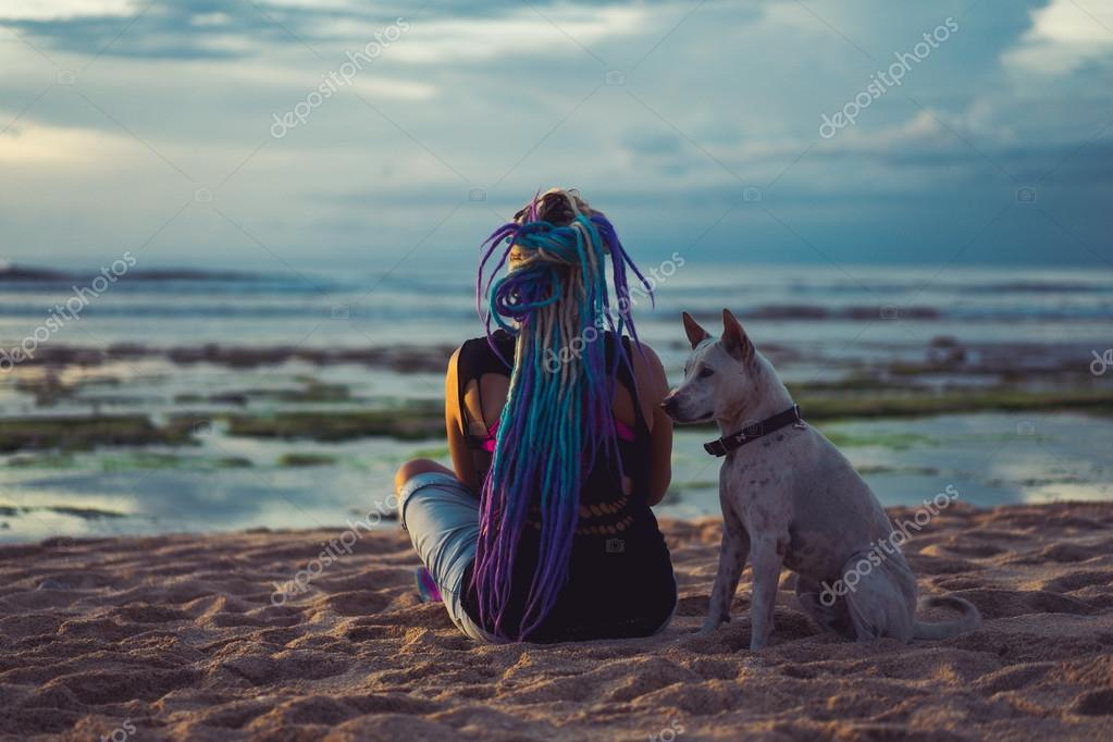 hippie hipster woman  with dog