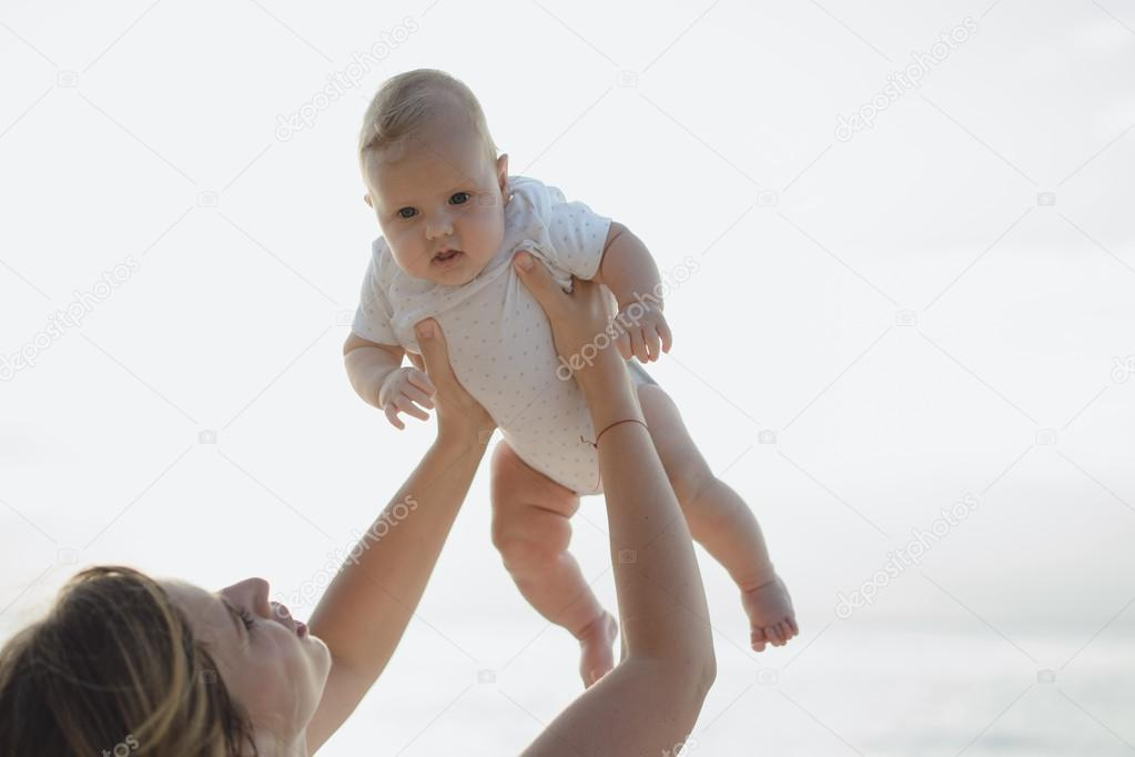 Happy woman with a child.